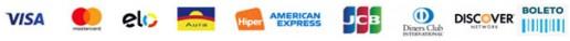 Formas de pagamento: Visa, Mastercard, Diners Club, Aura, Elo, Hipercard, American Express e Boleto